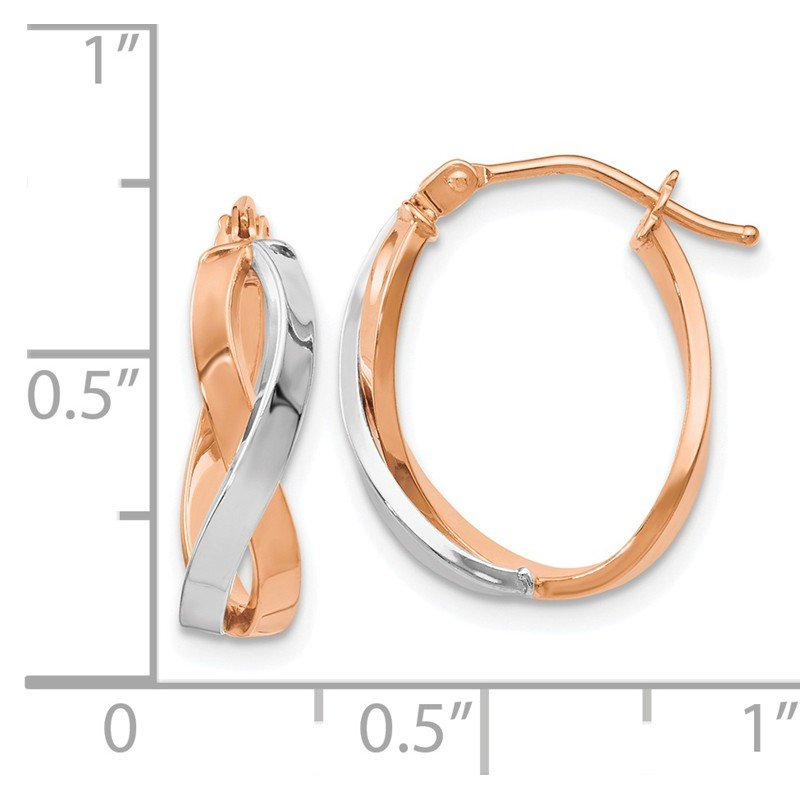 Leslie's Leslie's 14K Rose Gold Two-tone Polished Hinged Hoop Earrings