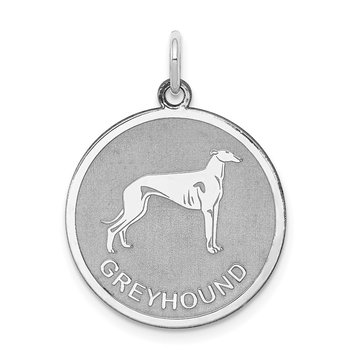 Sterling Silver Rhodium-plated Greyhound Disc Charm