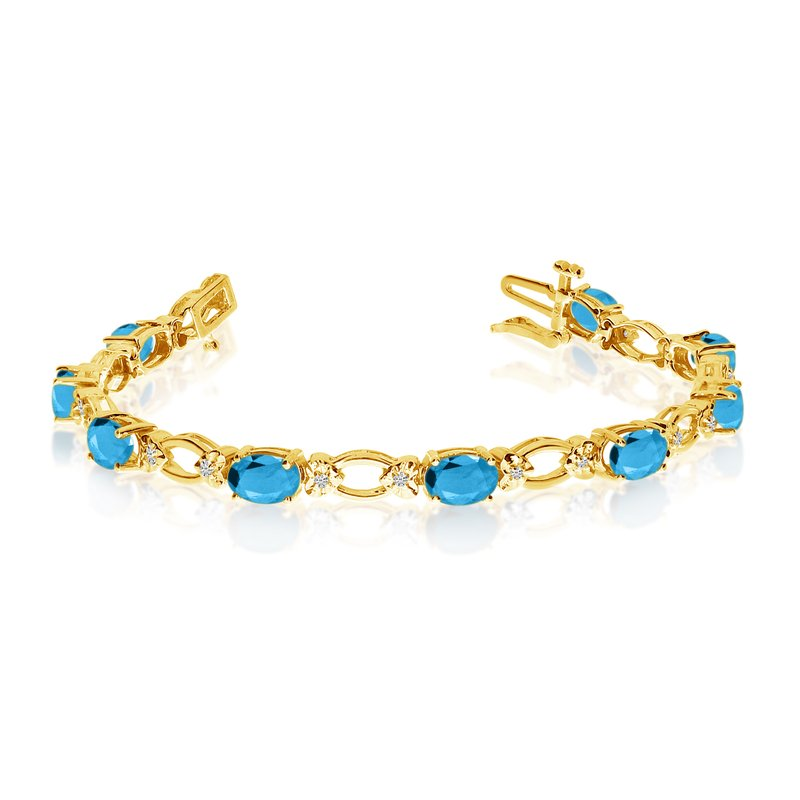 Color Merchants 14k Yellow Gold Natural Blue-Topaz And Diamond Tennis Bracelet