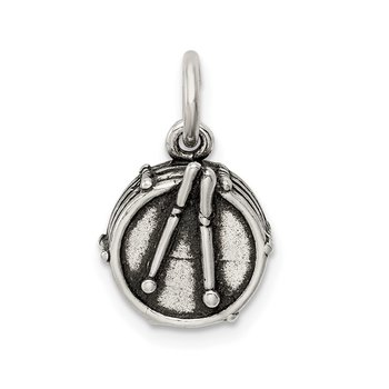 Sterling Silver Antiqued Drum Charm