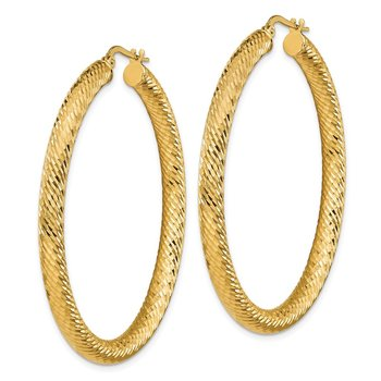 14k 4x40mm Diamond-cut Round Hoop Earrings