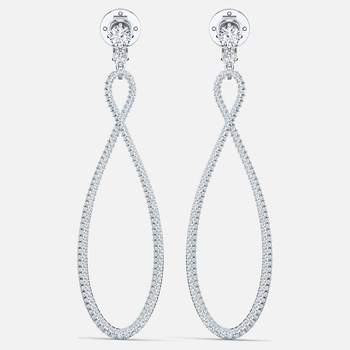 Swarovski Infinity Hoop Clip Earrings, White, Rhodium plated