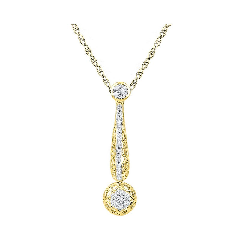Gold-N-Diamonds 10kt Yellow Gold Womens Round Diamond Drop Cluster Pendant 1/3 Cttw