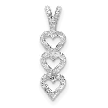 14k White Gold Triple Heart Pendant
