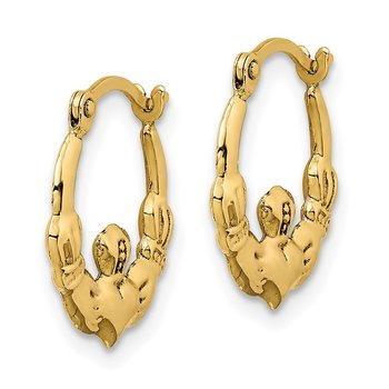 14k Claddagh Hoop Earrings