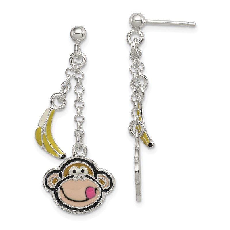 Quality Gold Sterling Silver Enameled Monkeyand Banana Dangle Post Earrings