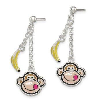 Sterling Silver Enameled Monkeyand Banana Dangle Post Earrings
