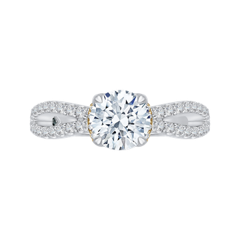 18K Tow-Tone Gold Round Diamond Engagement Ring with Split Shank (Semi-Mount)