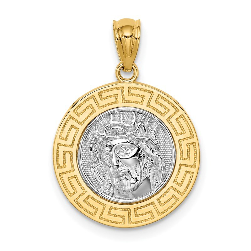 Quality Gold 14K w/White Rhodium Jesus Medal