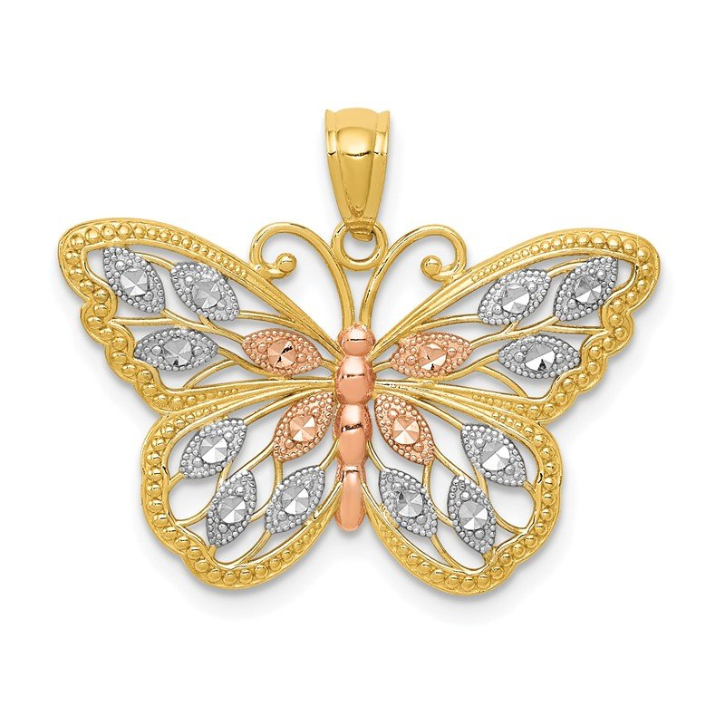 Quality Gold 14k w/White and Rose Rhodium Diamond-cut Butterfly Pendant