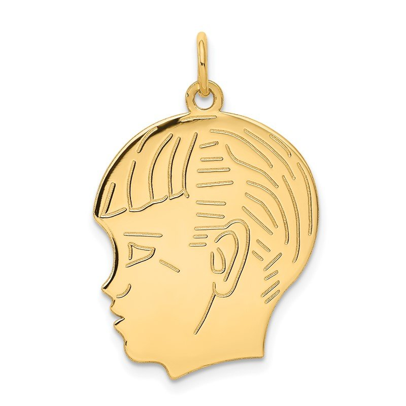 Quality Gold 14k .018 Depth Engravable Boy Head Charm