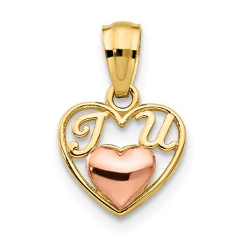14k Two-tone Mini I Love U Charm