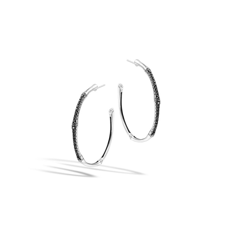 JOHN HARDY Bamboo Large Hoop Earring in Silver with Gemstone