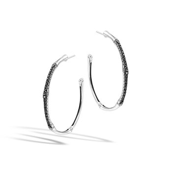 Bamboo Large Hoop Earring in Silver with Gemstone