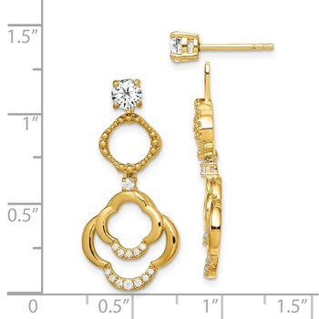 Sterling Silver Gold-tone 4mm Round CZ Earrings w/Chandelier Jackets