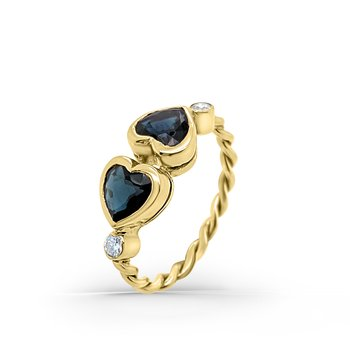 Yellow Gold Diamond Natural Blue Heart Sapphire Twist Ring
