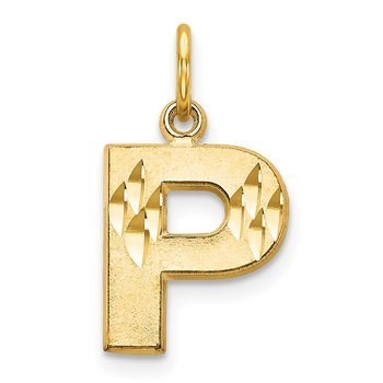 14KY Satin Diamond-cut Letter P Initial Charm
