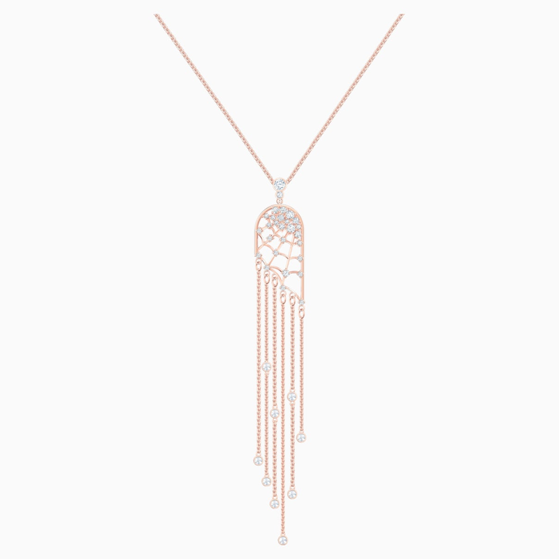 Swarovski Precisely Necklace, White, Rose-gold tone plated