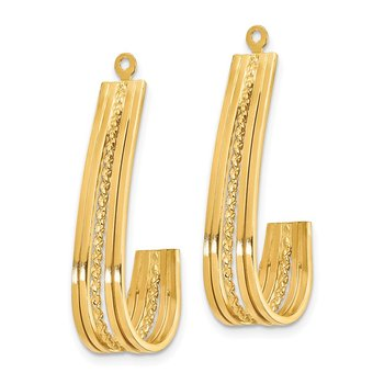14k Polished J-Hoop Earring Jackets