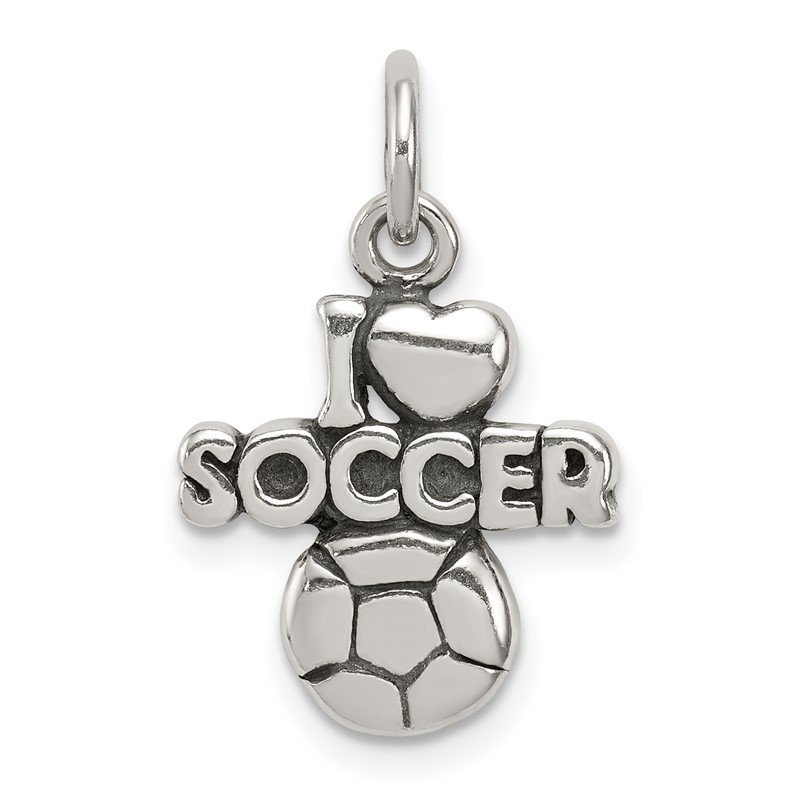 Quality Gold Sterling Silver Antique I (heart) Soccer Charm