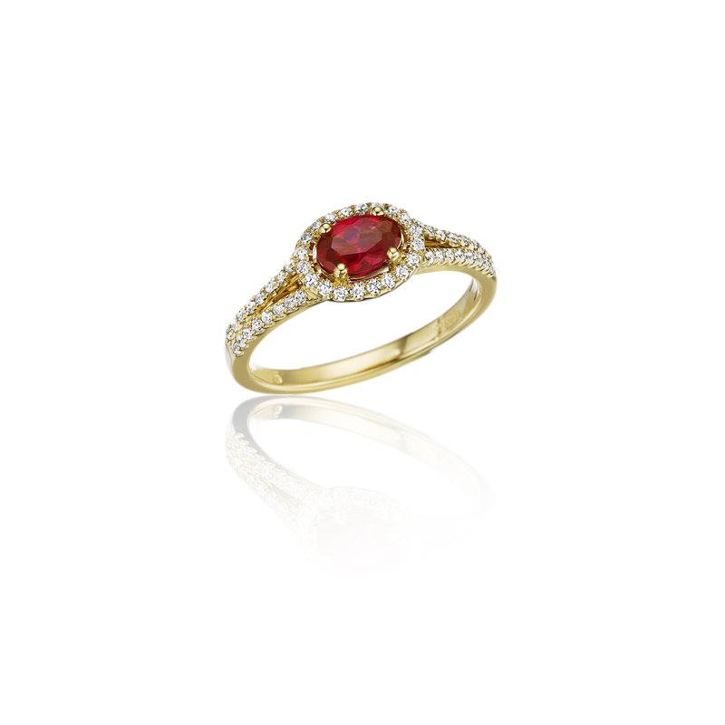 Fana Always On My Mind Ruby and Diamond Oval Cut Ring