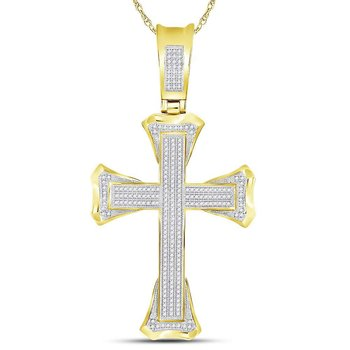 10kt Yellow Gold Mens Round Diamond Flared Christian Cross Charm Pendant 3/4 Cttw