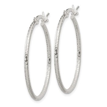 Sterling Silver Textured 2x30mm Hoop Earrings