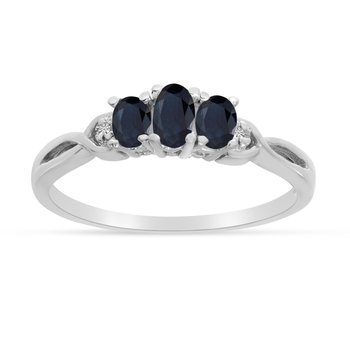 10k White Gold Oval Sapphire And Diamond Three Stone Ring