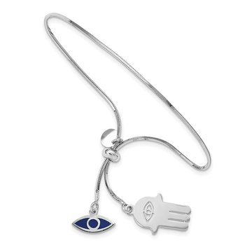 Sterling Silver RH-plated Enamel Eye and Hamsa Adjustable Bracelet