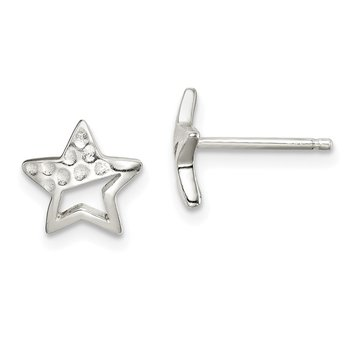 Sterling Silver Hammered Star Post Earrings