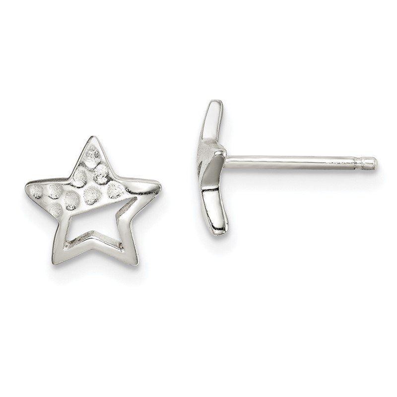 Quality Gold Sterling Silver Hammered Star Post Earrings