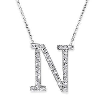 "Diamond All Star Initial ""N"" Necklace in 14K White Gold with 35 diamonds weighing .35ct tw."