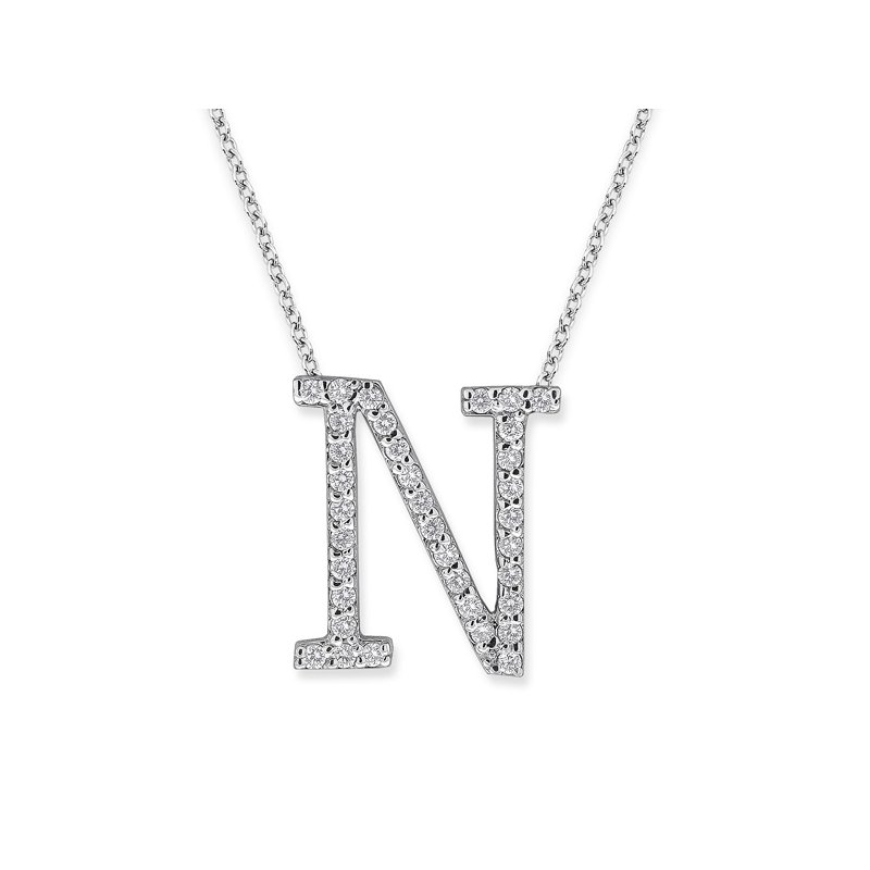 "KC Designs Diamond All Star Initial ""N"" Necklace in 14K White Gold with 35 diamonds weighing .35ct tw."