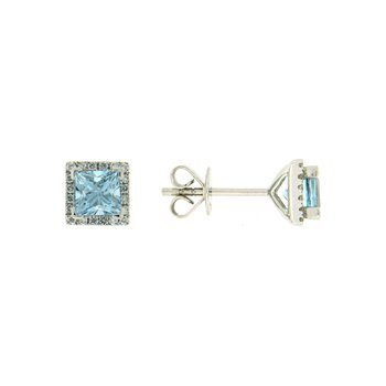 18k White Gold Earrings with Aqua & Diamond