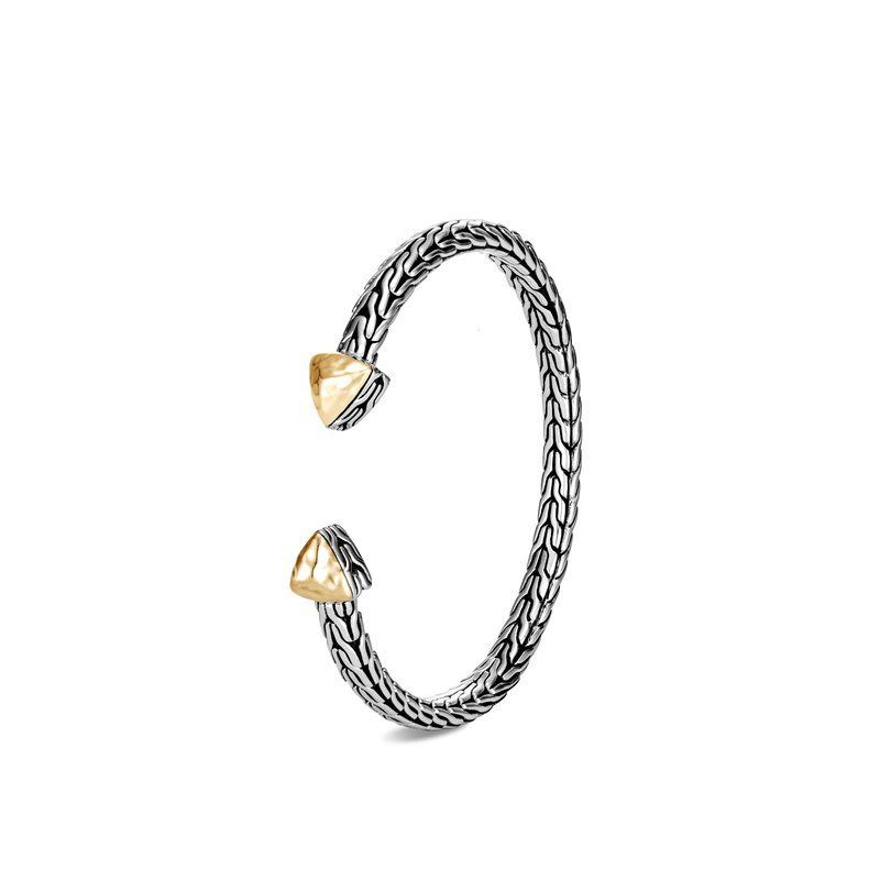 John Hardy Classic Chain Flex Cuff in Hammered 18K Gold and Silver