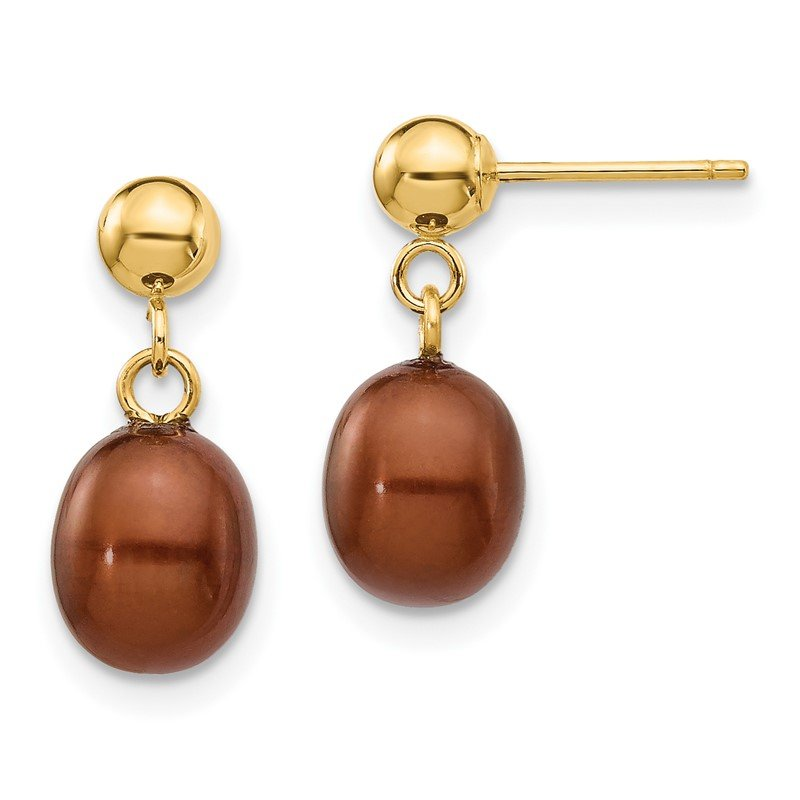 Quality Gold 14k 6-7mm Brown Rice Freshwater Cultured Pearl Dangle Post Earrings