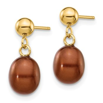 14k 6-7mm Brown Rice Freshwater Cultured Pearl Dangle Post Earrings