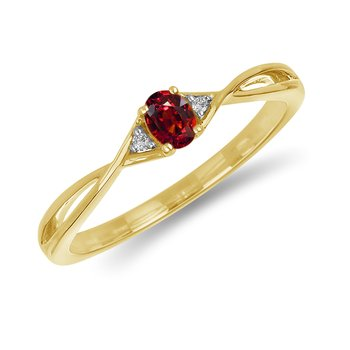10K YG and diamond and Garnet infinity style birthstone ring