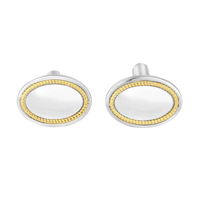 Royal Chain Sterling Silver, 18K Gold Oval Cufflinks