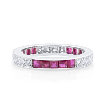 Platinum Square Ruby & Round Diamond Eternity Band