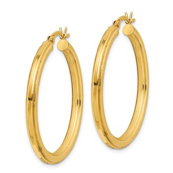 Sterling Silver Gold Flash Plated 3x35mm Grooved Hoop Earrings