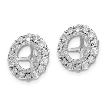 Sterling Silver Rhodium White Topaz Earring Jacket