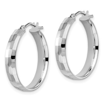 Leslie's 14k White Gold Polished and Textured Hoop Earrings