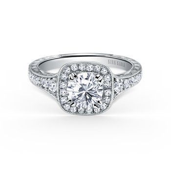 Engraved Filigree Halo Diamond Engagement Ring