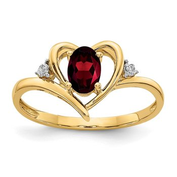 14k Garnet and Diamond Heart Ring