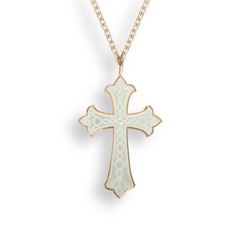 White Cross Necklace.Rose Gold Plated Sterling Silver