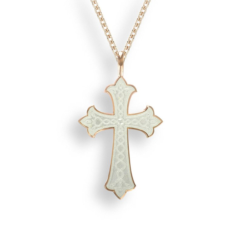 Nicole Barr Designs White Cross Necklace.Rose Gold Plated Sterling Silver