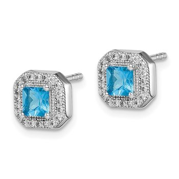 Sterling Silver Rhodium Plated Square Blue and Clear CZ Post Earrings