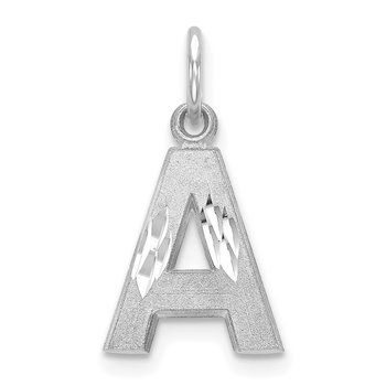 14KW Satin Diamond-cut Letter A Initial Charm