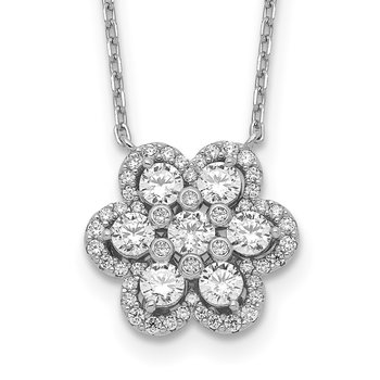 Sterling Silver Flower CZ 15.75in w/1in & 2in ext. Necklace